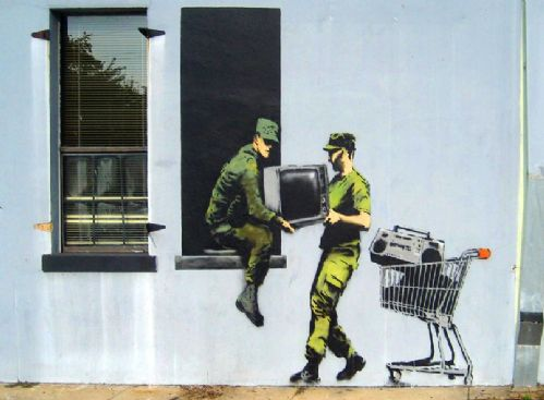 BANKSY - looting soldiers canvas print - self adhesive poster - photo print